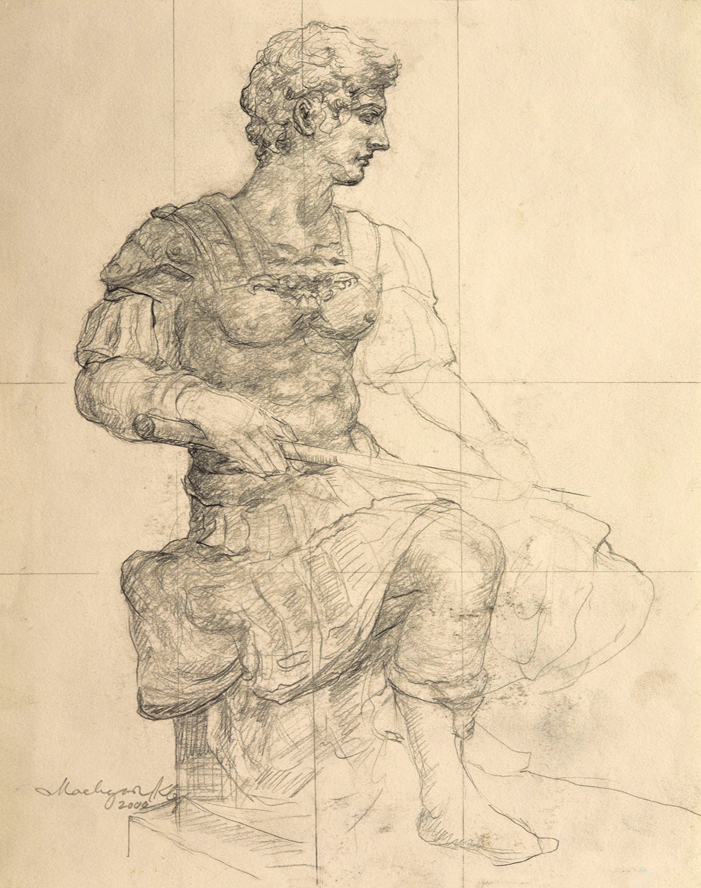 Study of David, side view
